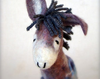 Vladimir - Felt Donkey, Art  Marionette, Felt Toy, Handmade, Puppet, Felted Animals, Stuffed Toy. grey gray blue night . MADE TO ORDER