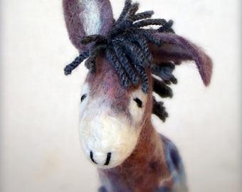 Vladimir - Felt Donkey, Art  Marionette, Felt Toy, Handmade, Puppet, Felted Animals, Stuffed Toy. grey gray blue night . MADE TO ORDER