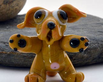 BROWN Dog Glass Sculpture Collectible, Focal Bead, Izzybeads SRA