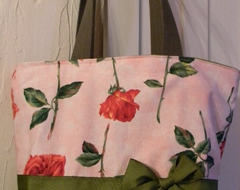 Pink Red & Green June Long Stem Roses- Purse Tote BAG or Diaperbag