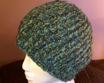 Blue Green Knit Hat