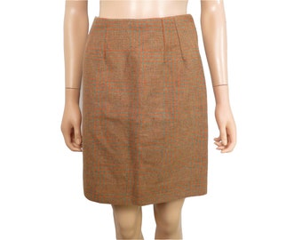 Vintage 60s Plaid High Waist School Girl Mini Skirt Size S/M