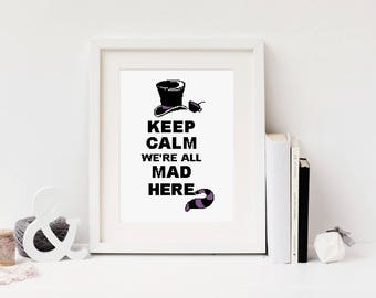 Alice in wonderland Cross stitch pattern Quote Easy Beginner All mad here Cute Cheshire cat Disney Keep calm Instant download PDF #070