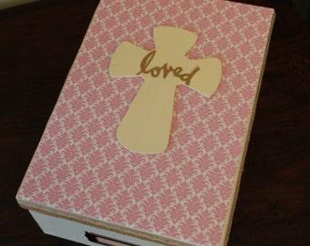 Baptism Keepsake Box in Pink! Baptism Gift, Christening Gift, Organization for Baptism, Godchild Gift, Confirmation Box