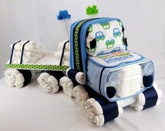 Unique Diaper Cake - Semi Truck Diaper Cake - Truck Diaper Cake - Baby Shower Gift - Diaper Cake - Baby Gift - Boy Diaper Cake - 18 Wheeler
