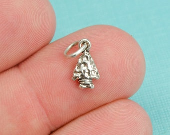 Sterling Silver Arrowhead Bracelet Charm, Native American, Indian, Western, Jewelry, .925 Silver, DIY Bracelet, (C191)
