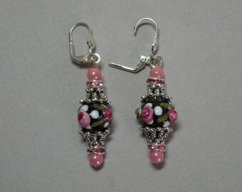 Jet & Rose Lampworked Earrings