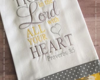 Kitchen Towel; Embroidered Dish Towel; Bible Verse Towel; Dishcloth; Scripture Towel; Gray and Yellow; Bridal Shower Gift; Linen Towel