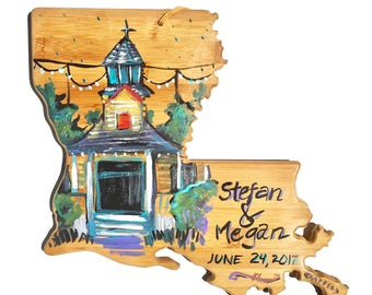 Wedding, wedding gift, home decor, gifts for couples, louisiana art, wood sign, wood art, wall art