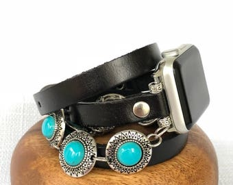Apple Watch Band Women Leather Apple Watch Strap Apple Watch Bracelet Apple Watch iwatch band beaded Apple Watch band 3rd Anniversary gift