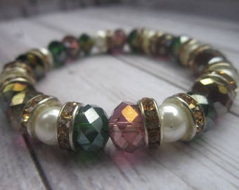 green and lilac crystalline bracelet