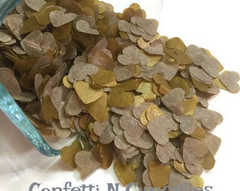 CONFETTI/Gold Heart Confetti/Tissue Paper Confetti/Anniversary Decor/Wedding Decor/Bridal Shower/Gold Confetti/wedding toss confetti/ hearts