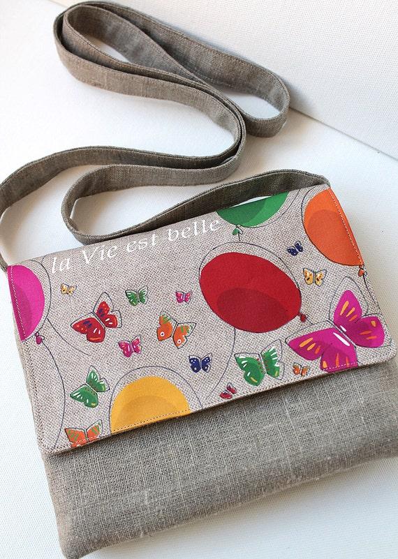 "Bag - shoulder bag shown linen ""life is beautiful"""