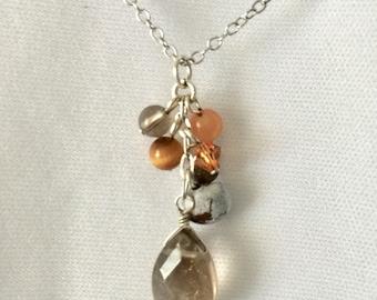 Sterling Silver Smokey Quartz, Pearl Pendant.  Sterling Silver Smokey Quartz Pendant Necklace with Brown Pearl. 925 Sterling Silver Chain.