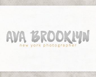 Premade Logo Design | Photography Logo | Modern Typography | Silver and Gold | Gray and Yellow | Premade Blog Header | Minimalist Design