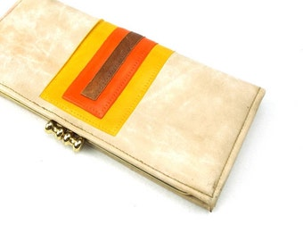 faux leather wallet. vegan wallet. wallet. womens wallet. for women. womens. gift for her. mid century modern. yellow. orange. brown, marble