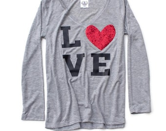 SALE Love T Shirt. Heart Sweatshirt. Sequin Heart Love Shirt. Graphic Valentines Day Shirt. Womens Valentine Gift Tee Shirt. Valentines Day