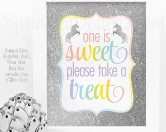 One is Sweet Take A Treat - Rainbow Unicorn Party Favor Sign, Printable Unicorn Birthday Party Decorations, Girl First Birthday Party Sign