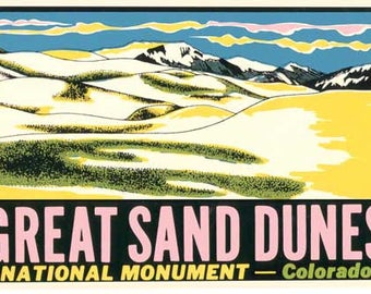 Vintage Style Great Sand Dunes Colorado  Travel Decal sticker