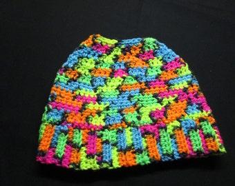 Tween colorful messy bun hat