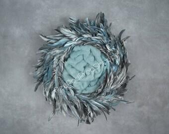 Digital Backdrop Newborn - Feather Wreath Digital Prop Instant Download