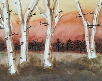 Fall-ing Birch, fall landscape is a vibrant depiction of late evening, as the sun is setting, in a forest landscape by The Praying Painter