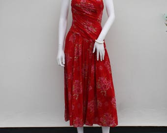 Laura Ashley dress -  prom gown - sleeveless - red floral - summer clothes - vintage dresses - cruise wear - midi dress