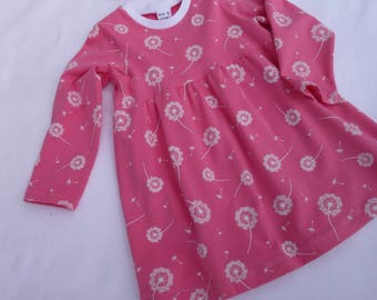 Girl/Baby Dandelion Dress in soft Coral Cotton Jersey, Long sleeved