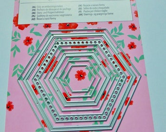 7 stencils die cutting embossing embossing and cutting and embossing dies Hexagon metal frame