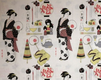 Ivory Geisha Coterie Print Pure Cotton Fabric from Alexander Henry--One Yard
