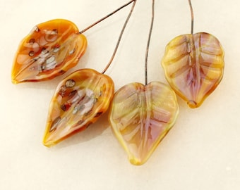 Lampwork Headpins, Glass Leaf Head Pins,  Headpin on 20Ga Antique Copper Wire, Gold. Brown Leaves