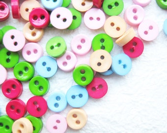 SALES 100 pcs Tiny 2 hole button - 6.5 mm. for making Barbie, Blythe and dolls clothes SET18