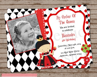 Queen Of Hearts Photo Birthday Party Invitation