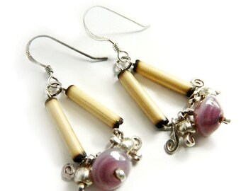 Andean Tribal Earrings - Sterling Silver & Bamboo / Lavender