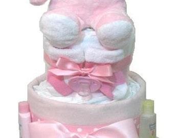 Pink Baby Diaper Cake, Girls Diaper Cake, pretty diaper cake, diaper cake gifts, diaper centerpieces, diaper raffle