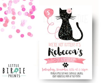 Photo cat birthday party invitation kitten cat birthday girl cat invitation cat birthday party invitation kitty cat birthday invitation kitten birthday invitation first birthday second filmwisefo Image collections
