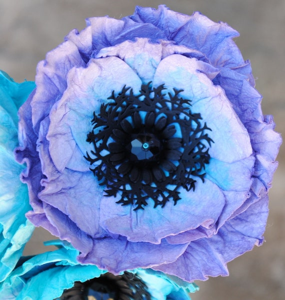 Individual paper poppy stem purple and blue poppies mightylinksfo