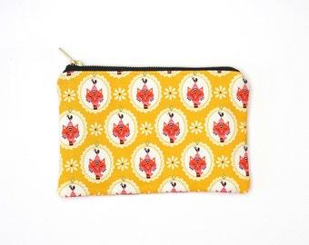 Sassy Cats Yellow Print Metal Zipper Bag 8x5 - Makeup Bag / Pencil Bag
