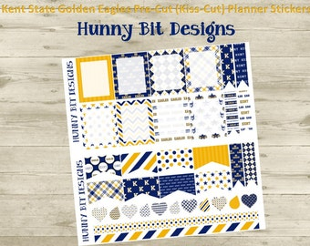 Erin Condren Planner Kent State Golden Eagle Football Precut Kisscut Peel and Stick Stickers Flags Rectangle Boxes Labels Blue and Gold