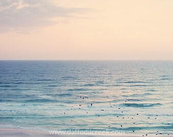 Beach Photography, Bedroom Wall Art, Beach Wall Art, Wall Decor Bedroom, Beach Decor, Birds on Beach Photo, Pastel Wall Art, Ocean Photo