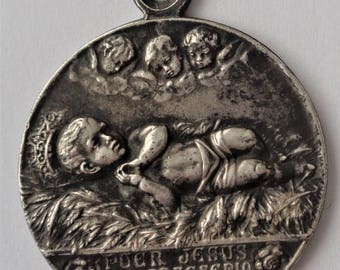 Rare Antique Religious Medal  Baby Jesus