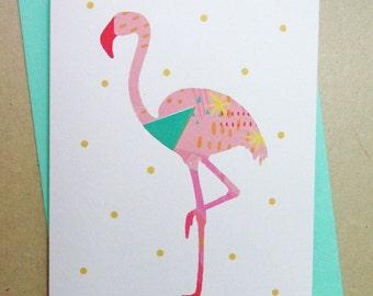 Card, greetings card, 'Gogo flamingo', bird illustration, bird card, flamingo card, birthday card