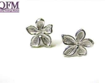 3 pairs (6 pcs) Sterling Silver 925 Flower stud Earrings available in Shiny Silver