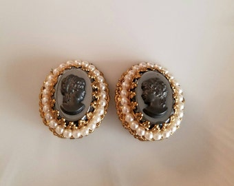 Vintage West German Cameo clip on earrings