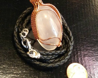 Moonstone in copper wire weave