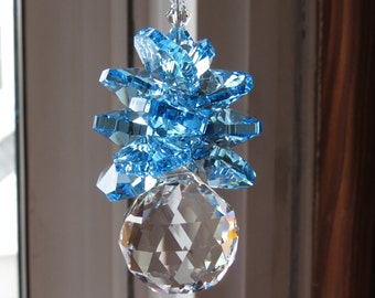 Swarovski Crystal Pineapple, Swarovski Clear Crystal 20mm Ball With A Cluster Of Blue Swarovski Crystal Octagons, Keira's Crystal Creations