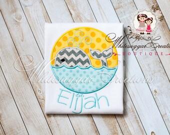 Swimming Whale Shirt - Custom Whale Shirt - Baby Boy Summer Outfit - Boys Whale Shirt
