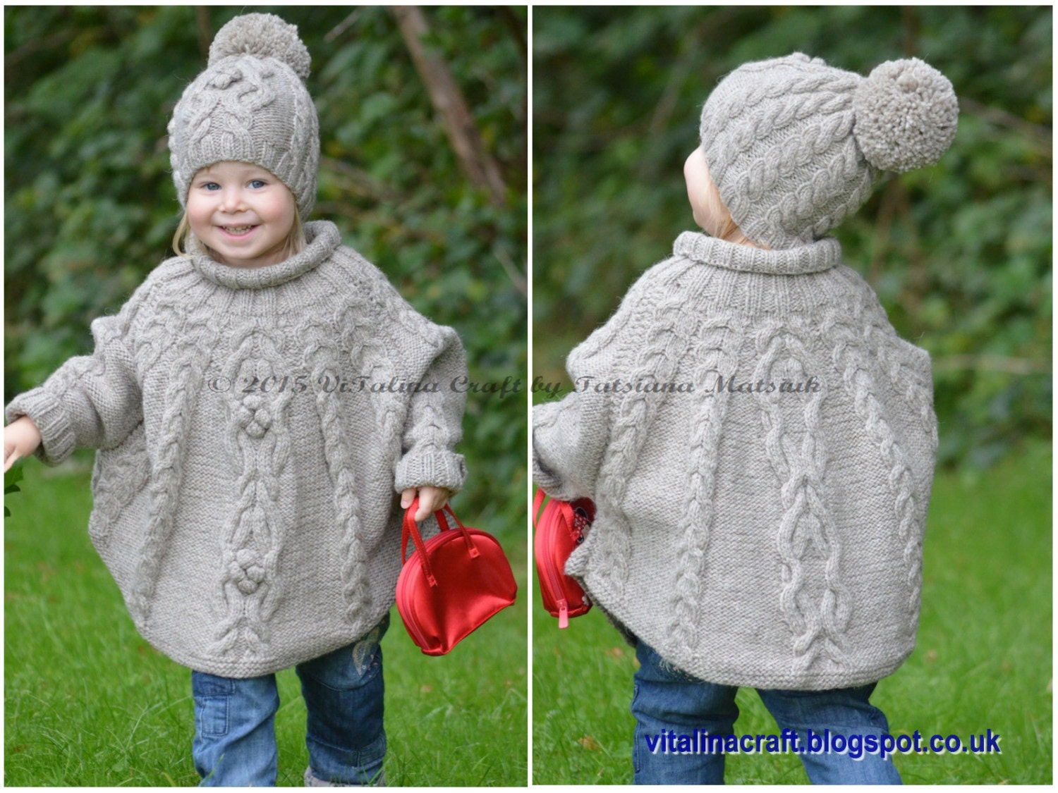 Knitting pattern temptation poncho and hat set toddler and zoom bankloansurffo Choice Image