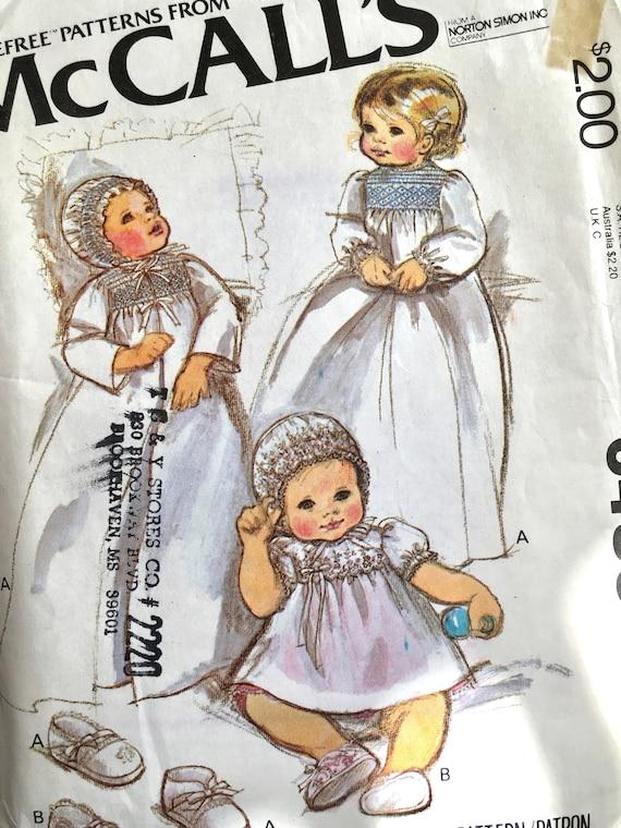 Smocked Christening Dress Pattern, Bonnet Pattern, Smocking Patterns ...