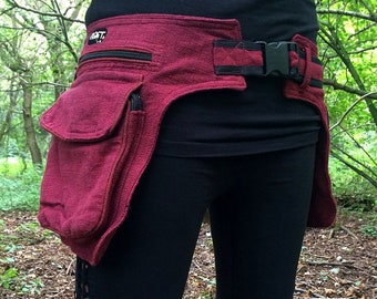 red waist bag psy hip belt festival hippie gypsy ethno psy trance burning man